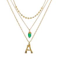 26 letras colar mulheres moda verde pedra natural colar de pingente de colares multicamadas
