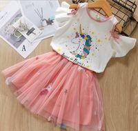 bébé fille vêtements deux pièces ensembles d'été Licorne Conception volants T-shirt à manches courtes + broderie Licorne jupe fille élégante robe de soirée ensemble