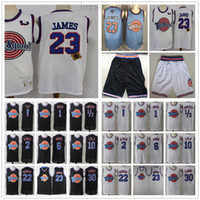 Schwarz Weiß Space Jam Basketball Jerseys Film Tune Squad Looney Daffy Duck Bill Murray Lola Bugs Bunny TAZ Tweety Michael James Curry Short