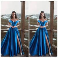Сексуальные королевские синие платья выпускного вечера A-Line с высоким вырезом и короткими рукавами с открытыми плечами Элегантная вечерняя вечеринка Gowms Robe De Soree Дешевые