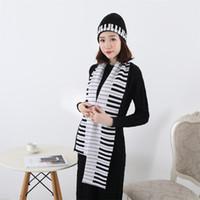 2019 neue gestrickte Wintermütze Schal Set Frauen dick hochwertige Werbeartikel fashional Unisex Erwachsene Klavier Schals Hut Sets