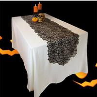 الساخنة هالوين الديكور الأسود الرباط شبكة العنكبوت مفرش المائدة مدفأة وشاح الإبداعية الجدول عداء حزب الجدول الغطاء ClothsT2I5452