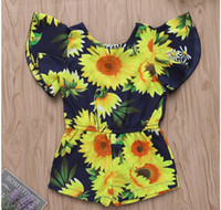 Baby Sunflower Print Mandarin Sleeve Jump Suit Girl Summer J...