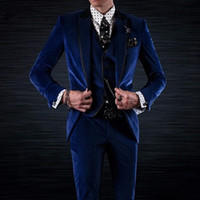 Royal Blue Velvet Noivo Smoking para o Desgaste Do Casamento Três Peças Jaqueta Colete Preto Pico Lapela Custom Made Ternos Dos Homens Do Partido
