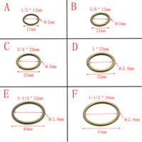 50pcs / серия Antique Brass O кольца металла Non Сварные никелированной Ошейники Круглый Loops Пряжка Пакет Accessorie 12мм-38мм