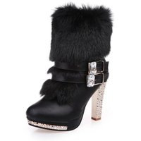 Women' s boots autumn and winter large size thick with f...