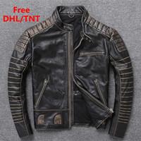 Мужская кожаная искусственная подлинная винтажная куртка Большой размер классический мотоцикл Biker пальто толстая коровья черный DHL бесплатно