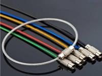 1000 جهاز كمبيوتر شخصى / الكثير غير القابل للصدأ أسلاك الفولاذ سلسلة المفاتيح مفتاح كابل حلقة حبل 7 ألوان المطاط أنابيب المسمار أداة قفل