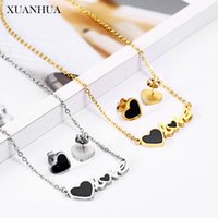 XUANHUA Stainless Steel Jewelry Sets For Lovers heart Necklace Earrings Set For Woman 2019 Jewelry Accessories