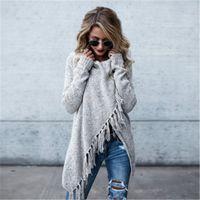 جديد شتاء كيب المعطف معطف المرأة شرابة طويلة الأكمام عارضة أبلى سترة الخريف الشتاء السيدات أزياء هامش شال معطف