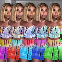 Women Off Shoulder Tracksuit Rainbow Gradient Lace Up Crop T...