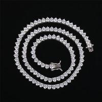 새로운 힙합 남자 테니스 체인 목걸이 쥬얼리 4mm 16inch-24inch 진짜 18K 금 도금 다이아몬드 체인 긴 목걸이 지르콘 망 보석