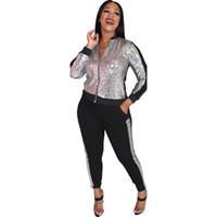 Robe à deux pièces Patchwork Patchwork occasionnel Outfits de fermeture à glissière Femmes Veste à manches longues Top + pantalon automne Wam costumes Plus Taille Vêtements Club Set Sexy Set