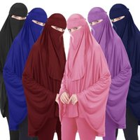 2ST moslemische Frauen Niqab Lange Khimar Hijab-Schleier-Schal Amira Abaya islamischer Kopf arabisches Gebet Garment + Veil Gottesdienst Neuer