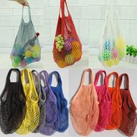 Мода Строка Покупки Фрукты Овощи Бакалея сумка Shopper Tote сети сетки тканые хлопка Сумка ручной Многоразовые сумки бакалеи DHL WX9-365