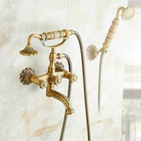 Antiguo decorar bañera grifo artística baño tina fregadero del grifo giratorio caño ducha de mano ducha de baño bañera grifo mezclador