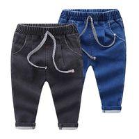 Kindermode Jeans Jungen und Mädchen Einfarbig Elastische Taille Jeans Hosen Hosen Kinder Tragen 2 Farben