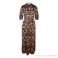 Para mujer diseñador del vestido del leopardo de Desinger Maxi vestidos de otoño cuello en V manga mitad atractivo Ropa Mujer Estilo Moda Casual Ropa