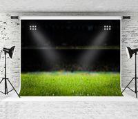 Rêve 7x5ft Terrain de Football Photographie Toile de Fond Soirée Stade Fond clair pour Soccer Thème Décor