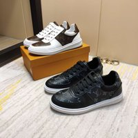 men' s sports shoes leather breathable lace- up tennis sh...