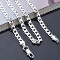 placcato in argento gioielli in 925 uomini di modo collana a catena 4MM 16-24inches superiore qualità di trasporto