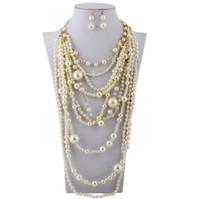 متعدد الطبقات عقد من اللؤلؤ أنثى الشرابة مجوهرات كريستال اليدوية قلادة مجموعة من سلاسل