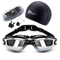 ماركات عالمية- الكبار سباحة Geogle قصر النظر المهنية 5 في 1 مجموعة نظارات السباحة لمكافحة الضباب فوق البنفسجية وصفة للماء نظارات 150-800 C19041201