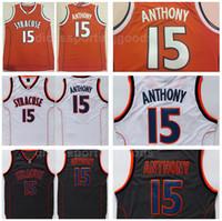 Universidad NCAA Syracuse Orange color del equipo de calidad superior respirable 15 Camerlo Anthony Jersey Hombres Baloncesto Naranja Blanco Negro