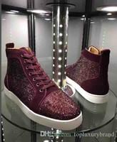Toptan 2018 erkekler kadınlar yüksek üst ayakkabı ünlü tasarımcı marka kutusu ve torba ile alt Sneakers mens loubbis ayakkabı kırmızı yapay elmas