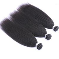 "Kinky 스트레이트 몽골 인간의 머리카락 짜기 확장 이탈리아 거친 야키 버진 인간의 머리카락 번들 3pcs 로트 10-30 ""머리 직조"