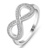 Designer di lusso Gioielli Donne Anelli 925 Anelli di fidanzamento di gioielli in argento sterling di lusso per le donne Infinity 8 Word Micro Inlay