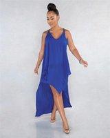 Bayanlar Tatiller Moda Tasarımcısı Giyim Yaz Saf Renk Kadın Elbise Kadın V Boyun Kolsuz Elbise Seksi