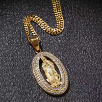 iced out mens vergini ciondolo mary collane delle donne degli uomini di design di lusso del diamante di Bling cubano catena a maglia regalo gioielli cristiana ciondolo in oro