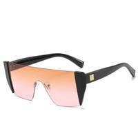 Yapışık Güneş Avrupa Ve Amerikalı Trend Tek Parça Güneş Gözlükleri Büyük Çerçeve Gözlükler Metal Gözlükler Renkli Lensler 8 Renkler