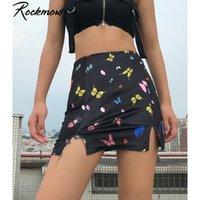 Rockmore Vintage Dividir Acima do joelho Saias Mulheres Borboletas Imprimir Mini Saia Streetwear Casual cintura alta Saias Femme Nightclub