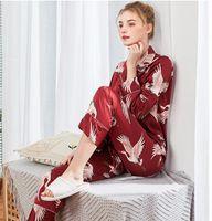 الربيع والصيف الجديدة محاكاة الحرير منامة السيدات جديدة السراويل ذات أكمام طويلة رياضية المنزل اثنين من قطعة بدلة بالجملة TZ1109