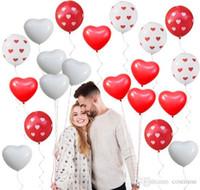 Love Heart Latex шары Сердце Printed шар Красный Белый Свадебный Гелий шар Валентина День рождения партии Надувные шары