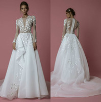 2019 Idan Cohen 긴 소매 웨딩 드레스 Overskirts 보석 쥬얼리 레이스 Appliqued Bridal Gowns Boho Beach 플러스 사이즈 위시리스트에 추가