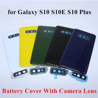 Zurück Glass für Samsung Galaxy S10 Plus-S10E Ränder Rückseiten-Batterie-Abdeckungs-Tür hinten Fall-Gehäuse + Kamera-Objektiv-Rahmen Klebstoff Ersatz 100Pcs