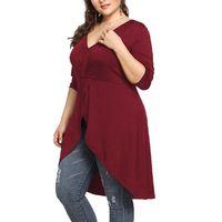 여자 플러스 사이즈 V- 목 섹시한 티셔츠 단색 긴팔 티셔츠 숙녀 2019 봄 긴 꼬리 패션 T- 셔츠 옷 아가씨