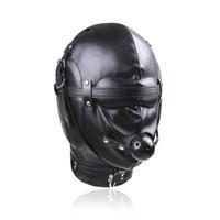 Siyah Kaliteli Tam Körü Körüne Maske Hood Ile Ağız Topu Gag Restraint gimp # R52