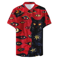Summer Man Funny Cat Eyes Printed Casual Shirt Party Fashion...