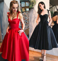 1950s Retro Red Black Prom Dresses spaghetti 2018 A Line Tea...