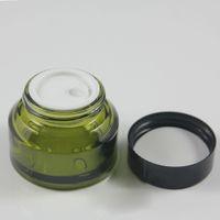 Großhandel 30g leeres Glassahneglas, 1oz farbige Malerei oder gefrostet kosmetische Behälter, runde Glas-Box-Verpackung für Cremes