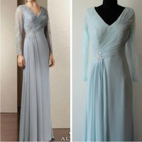 New Sheath Mother Of The Bride V- neck Long Sleeves Chiffon a...