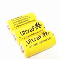 노란색 UltreFire 배터리 CR123A 16340 1500mAh 3.7V 충전식 리튬 배터리 무료 배송