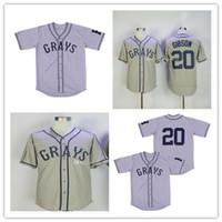 Bon marché Fashion Homestead Grays Touche Negro League Down Baseball Jerseys 20 Josh Gibson Broderie Sports Shirts Livraison Gratuite de haute qualité