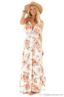 Yaz Çiçek Baskılı Bayan Elbise Bayan V Yaka Dantel Kasetli Giydirme Moda Tasarımcısı Backless Bohemian Elbiseler