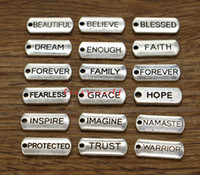 Ispirazione Tag Faith Forever Hope Credi Trust Grace Charm 100pcs / lot Silver 21x8 BS1941