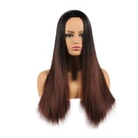 Hot 26 inch Long Straight Wig Ombre Brown Color Synthetic Wi...
